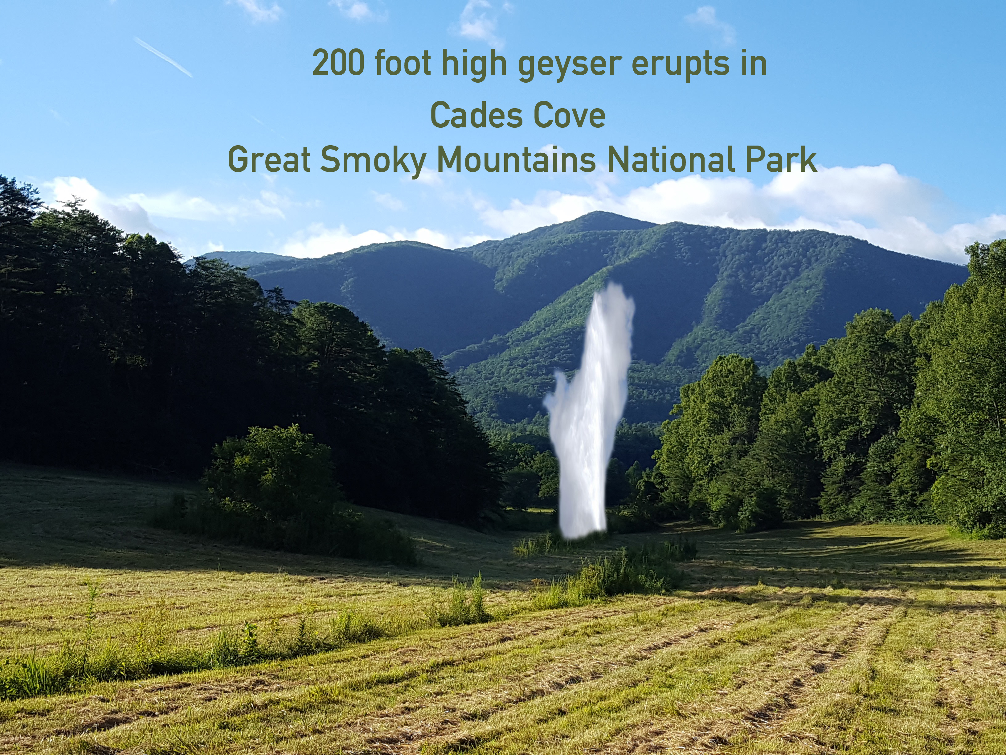 A 200 Foot Geyser Erupted Yesterday In The Very Heart Of
